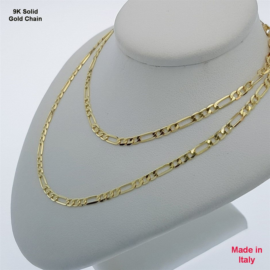 Genuine Italian Solid 9 Karat yellow Gold 45 cm Figaro chain necklace