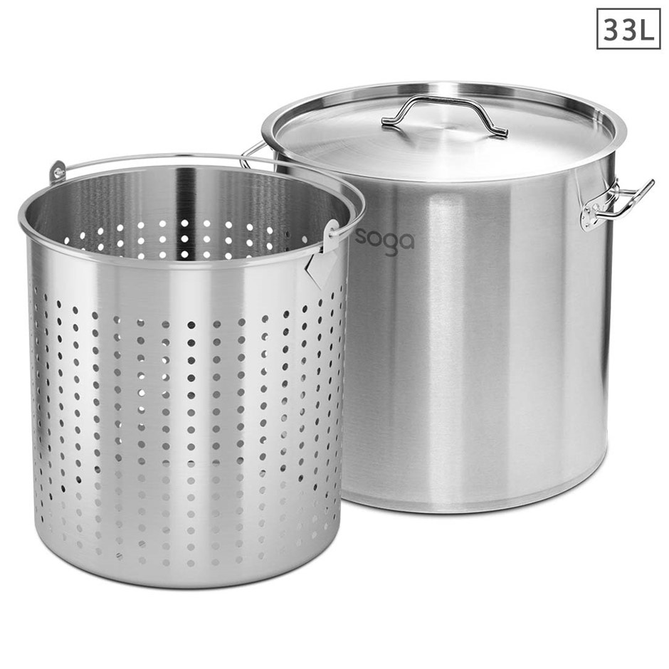 SOGA 33L 18/10 Stainless Steel Stockpot w/ Stock pot Basket Pasta Strainer