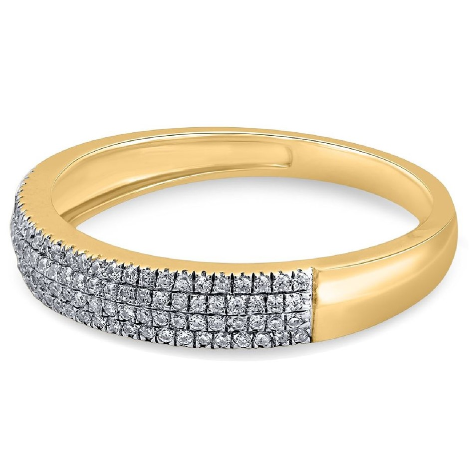 9ct Yellow Gold, 0.16ct Diamond Ring