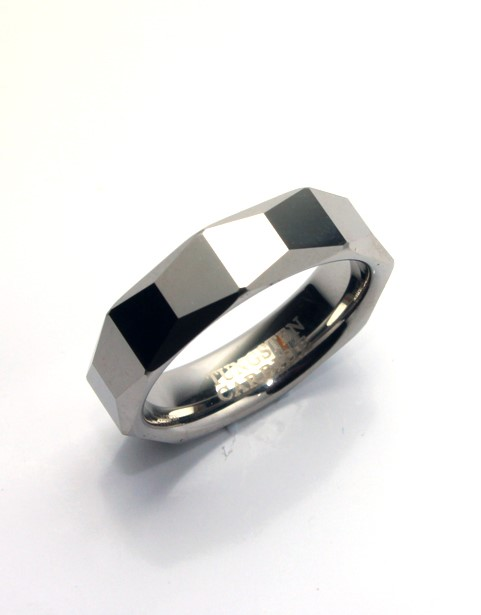 Faceted tungsten carbide ring