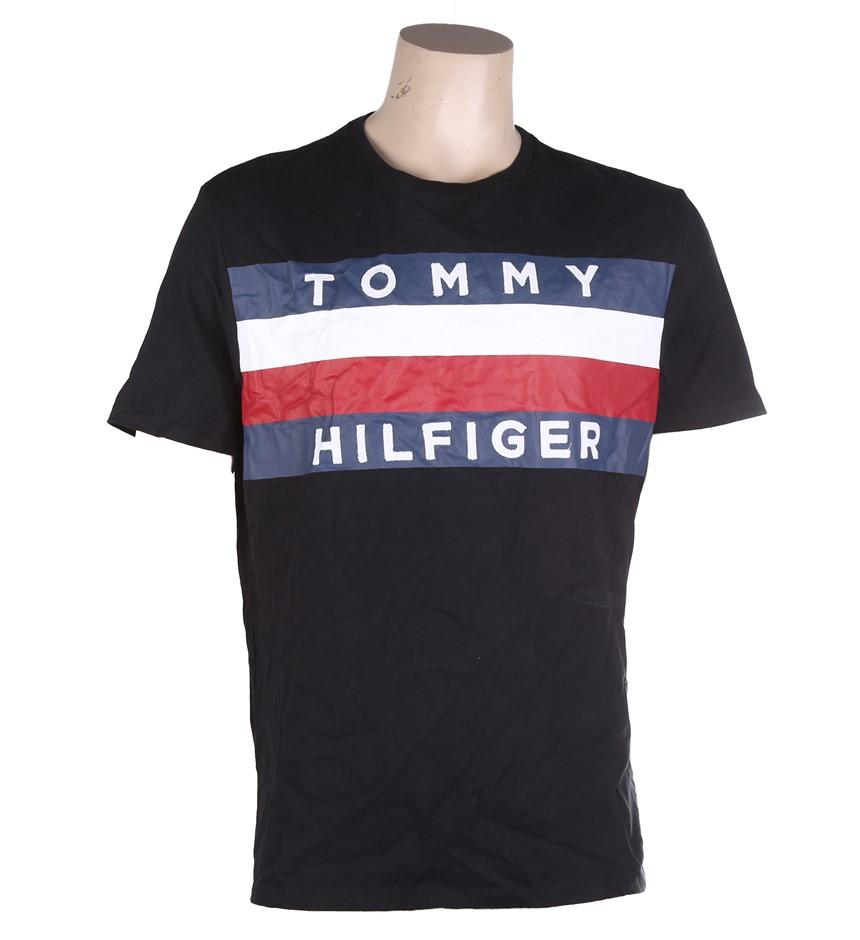 Men`s TOMMY HILFIGER Upstate Flag T-Shirt, Size L, Jet Black. Buyers Note -
