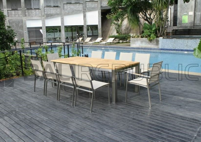 NUSA DUA 13 Piece Outdoor Dining Setting with White Sling Chairs