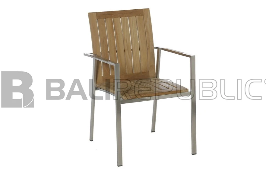 4 x NUSA DUA Outdoor Stacking Chairs with Seat Cushions by Bali Republic