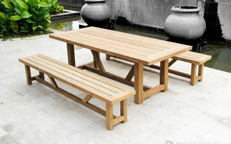 1 x TEMBOK 12 Seat Outdoor Dining Setting with Bench Seat Cushions