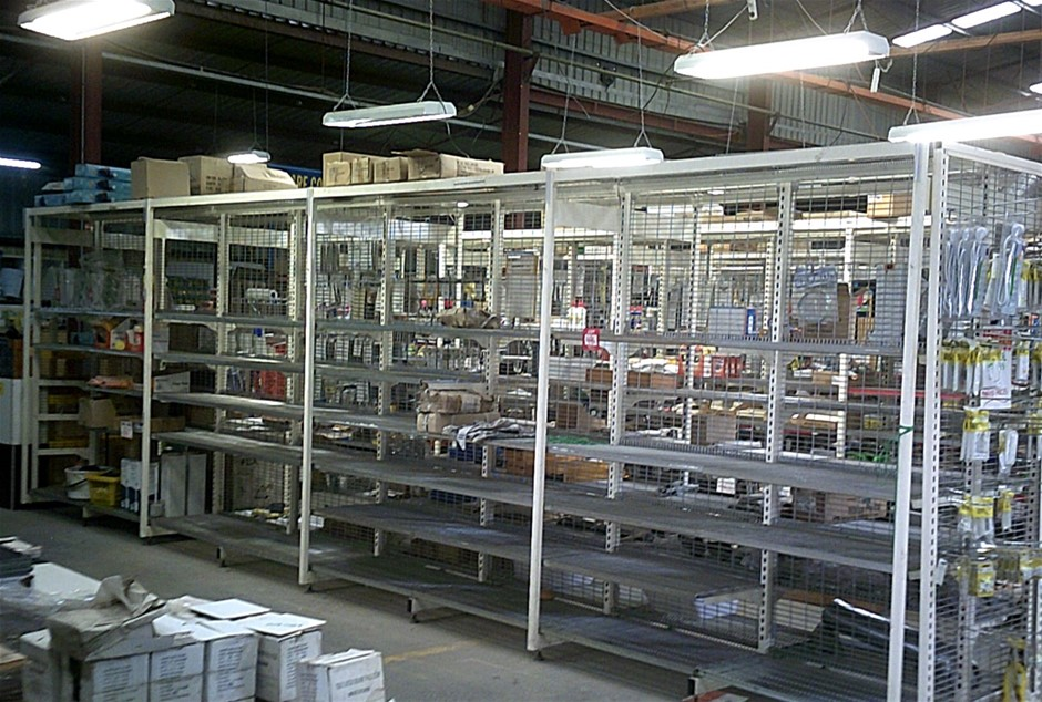 Quantity of Double Sided Steel cantilever Supermarket Shelving.