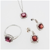 Sterling Silver Ruby and Diamond ring, necklace and earring set
