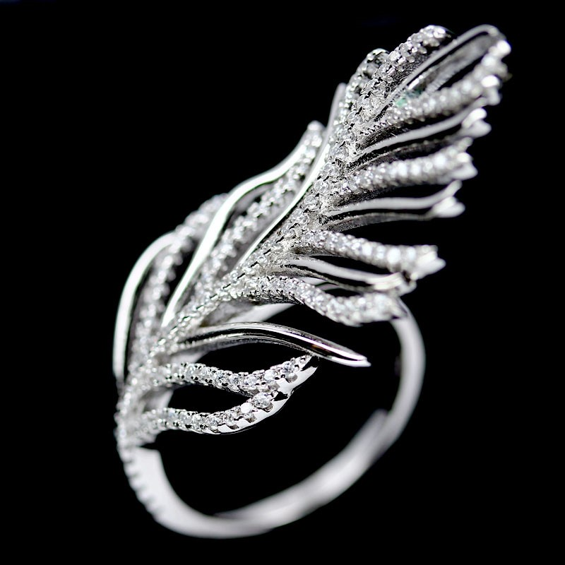 Solid Sterling Silver Feather Ring.