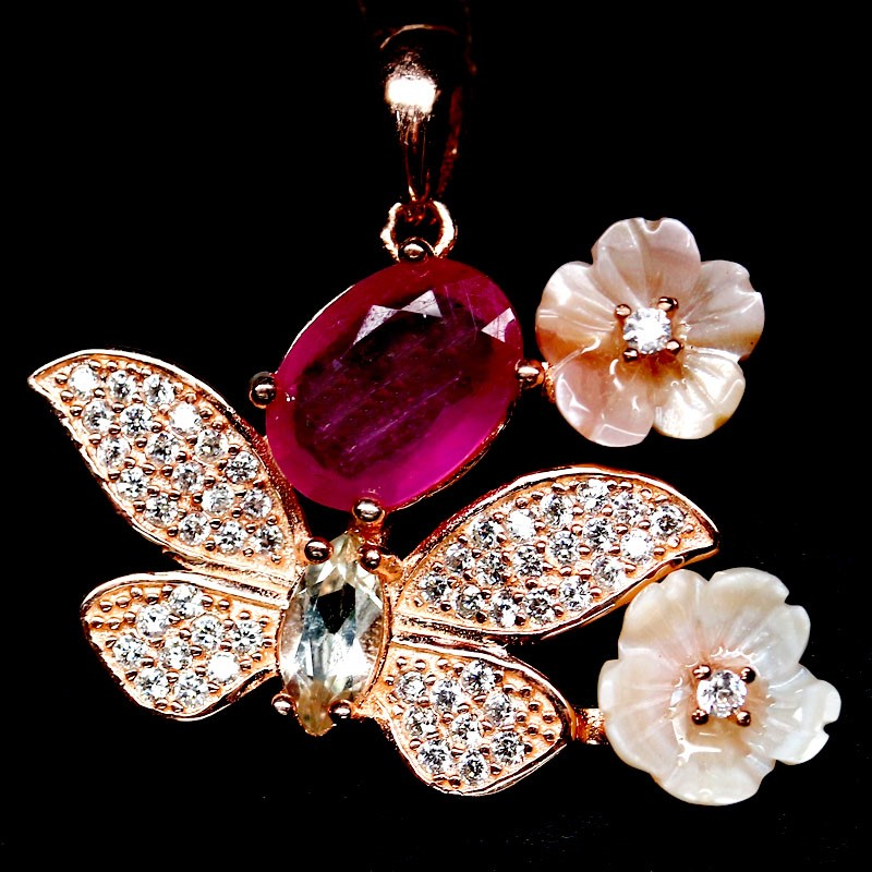 Beautiful Unique Genuine Ruby Topaz & Mother Of Pearl Pendant.