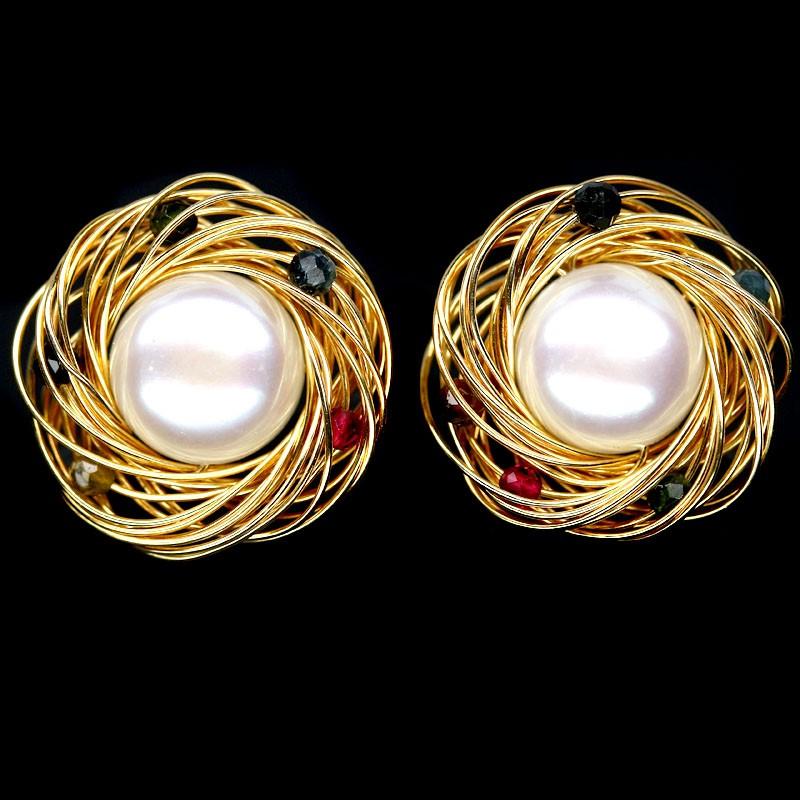 Spectacular Genuine Tourmaline & Pearl Birdsnest Earrings