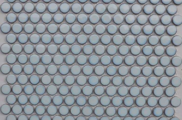 Penny Round Gloss Pale Blue 19mm x 5.5mm Mosaic Tiles, 10 Boxes, 18.5m²