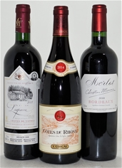 Pack of Assorted French Wine (3x 750mL), France, Cork Closure.