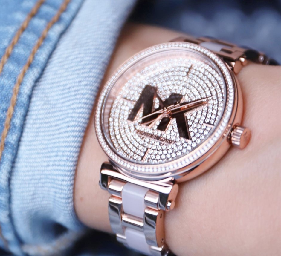 Ladies New Michael Kors Couture 'Sofie' signature MK rose gold watch