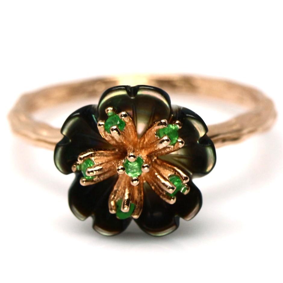 Genuine Tsavorite Garnet & Black Pearl Flower Ring.