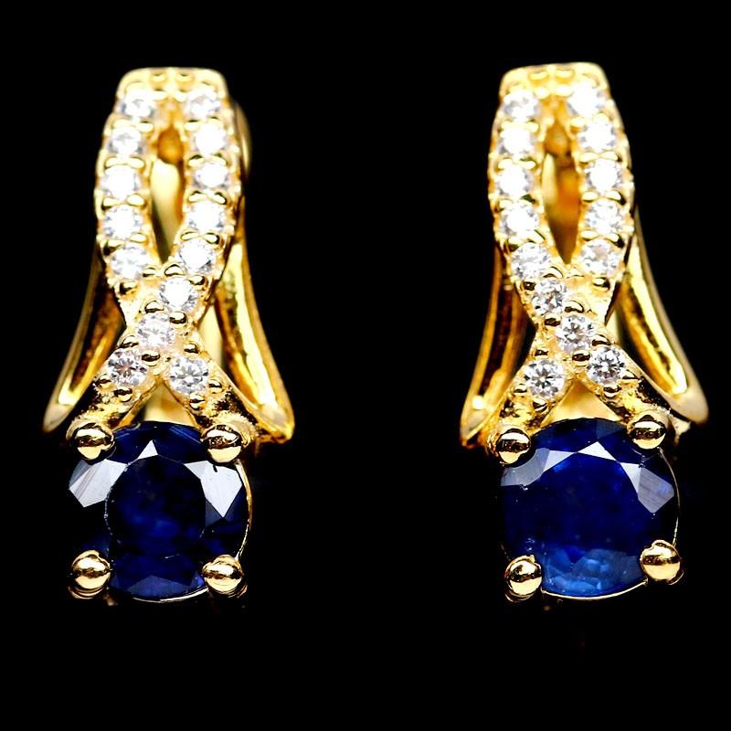 Genuine Midnight Blue Sapphire Huggie Earrings