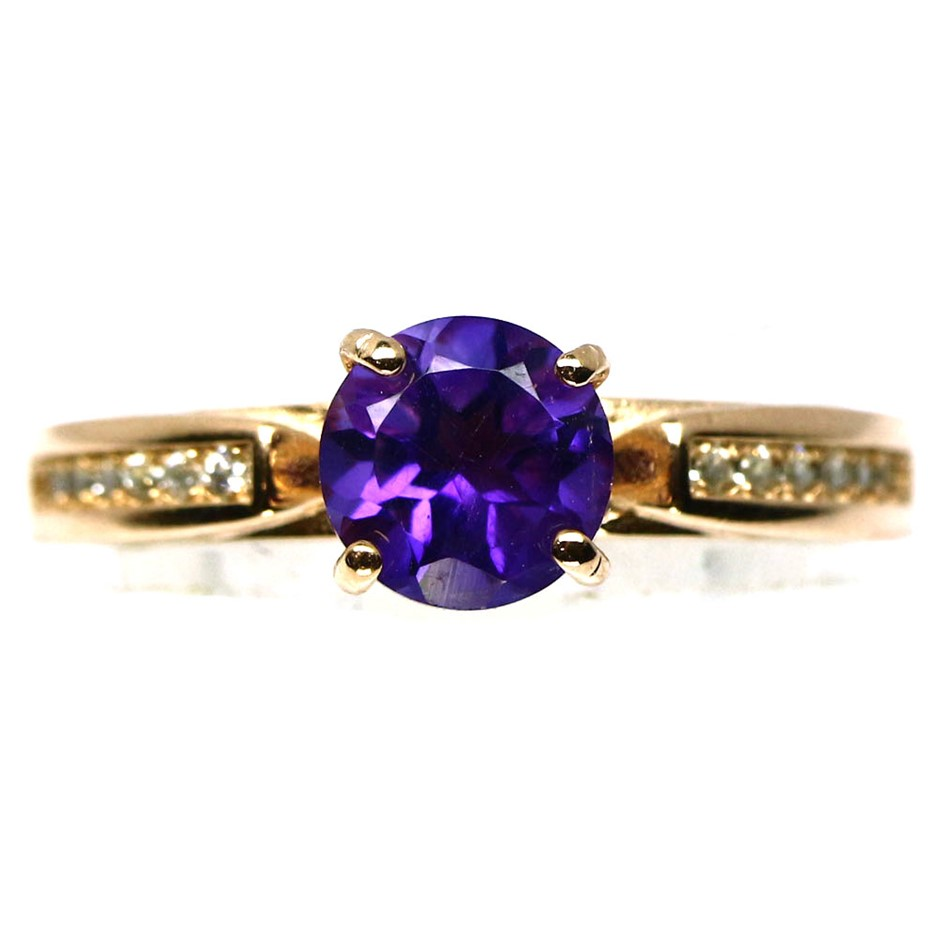 Genuine Purple Amethyst Solitaire Ring