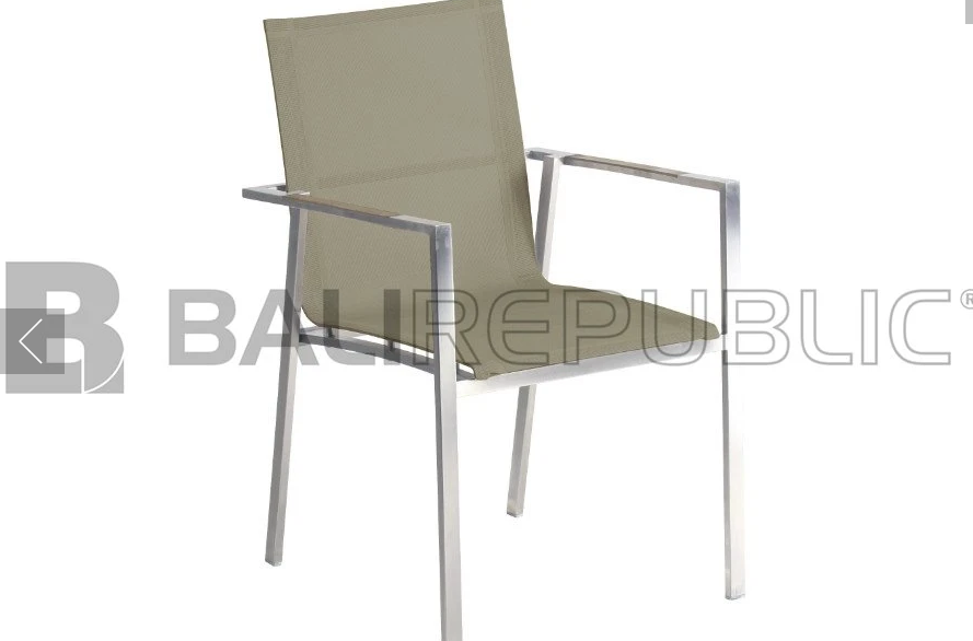 6 x NUSA DUA Outdoor Stackable Armchair in Taupe Sling by Bali Republic