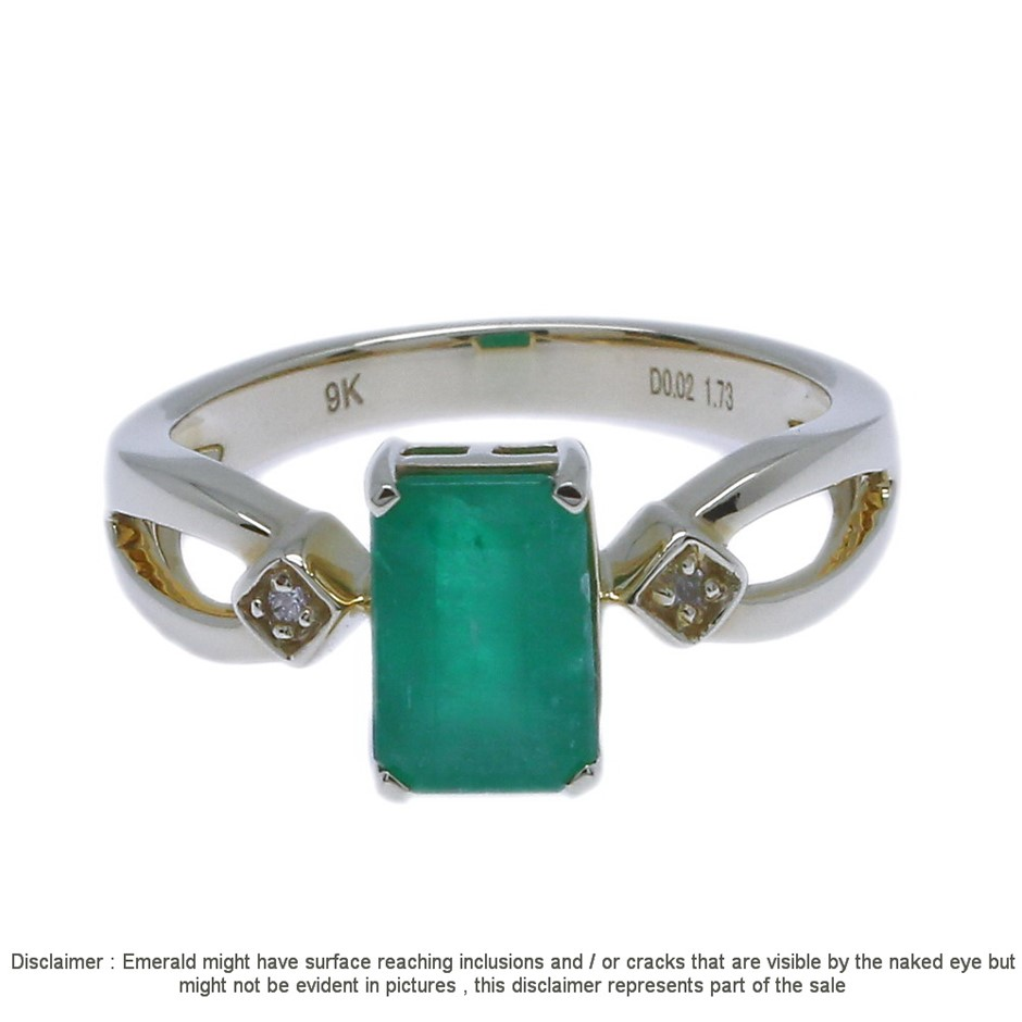 9cty Yellow Gold, 1.75ct Emerald and Diamond Ring