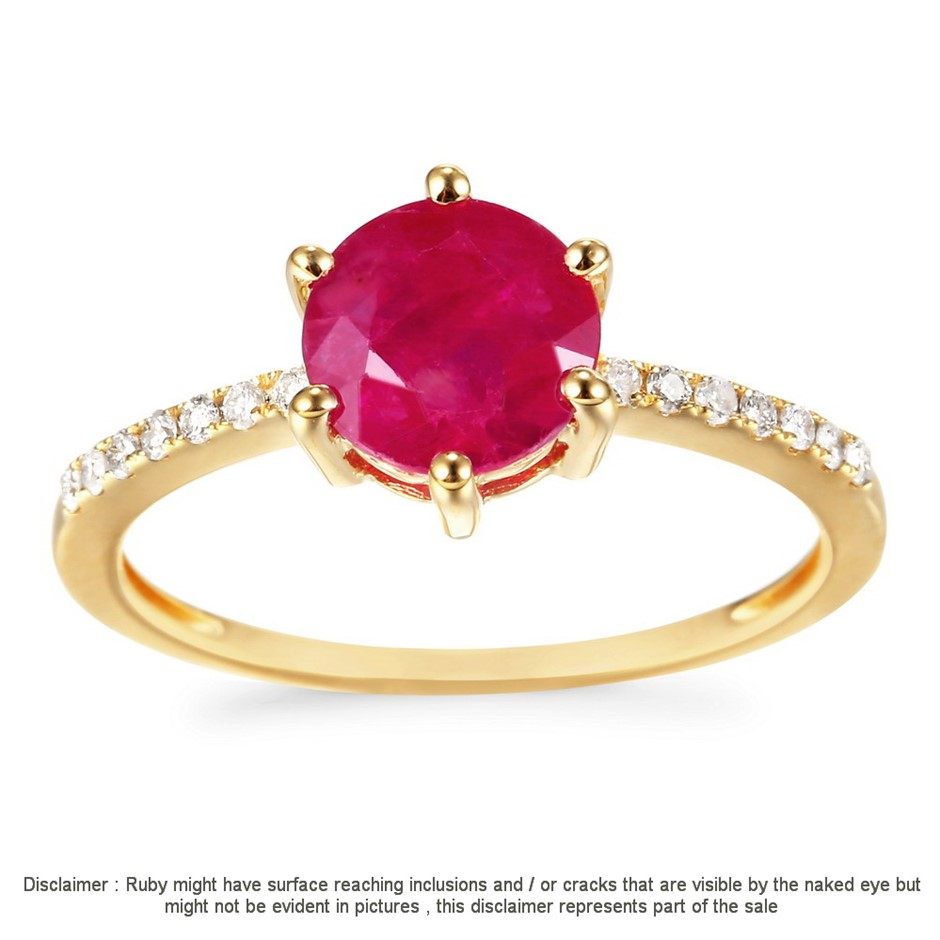 9ct Yellow Gold, 2.16ct Ruby and Diamond Ring
