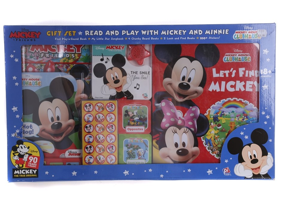 DISNEY Read & Play w/ MICKEY MOUSE CLUBHOUSE Gift Set, Comprising; First Pl
