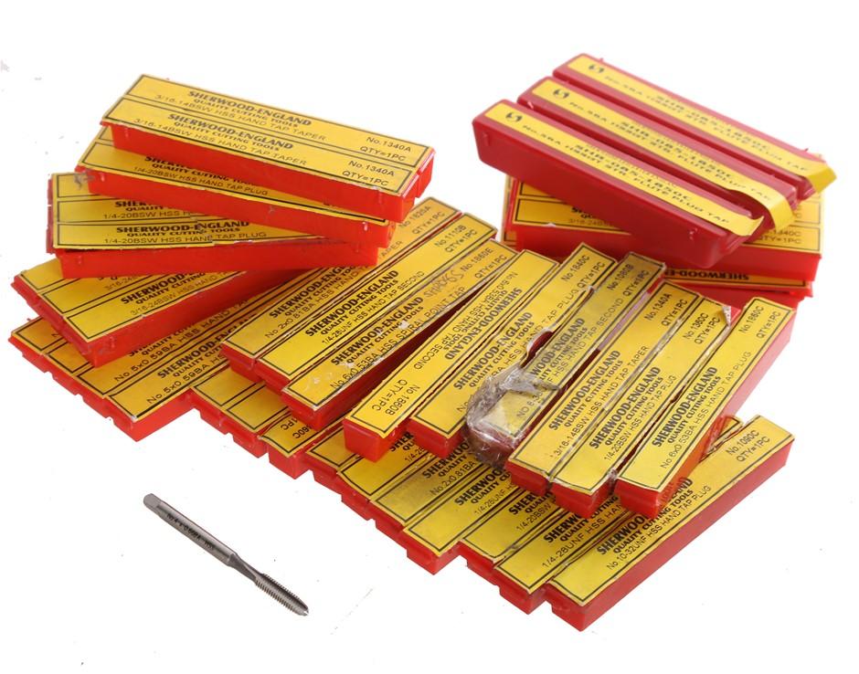46 x Mixed Small Sized SHERWOOD HSS Machine Taps, 3/16``, 1/4``, No. 6, No.