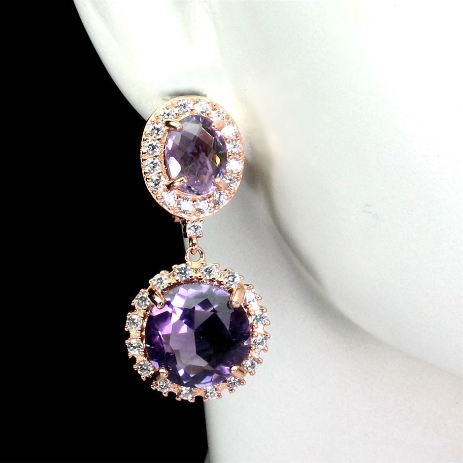 Spectacular Genuine Amethyst Drop Earrings