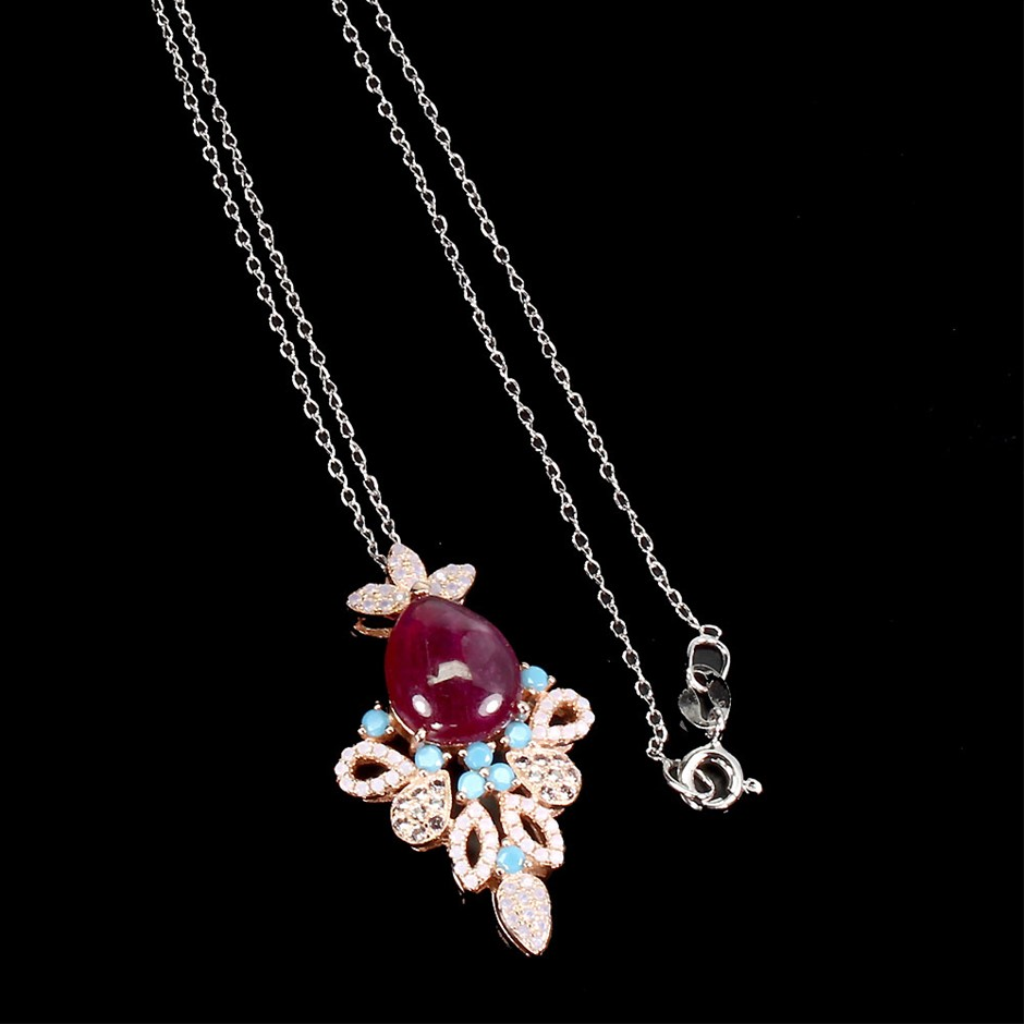 Spectacular Genuine Ruby Pendant & Necklace.