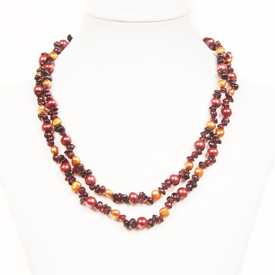 90cm Long Baroque Freshwater Pearl & Freeform Garnet Necklace