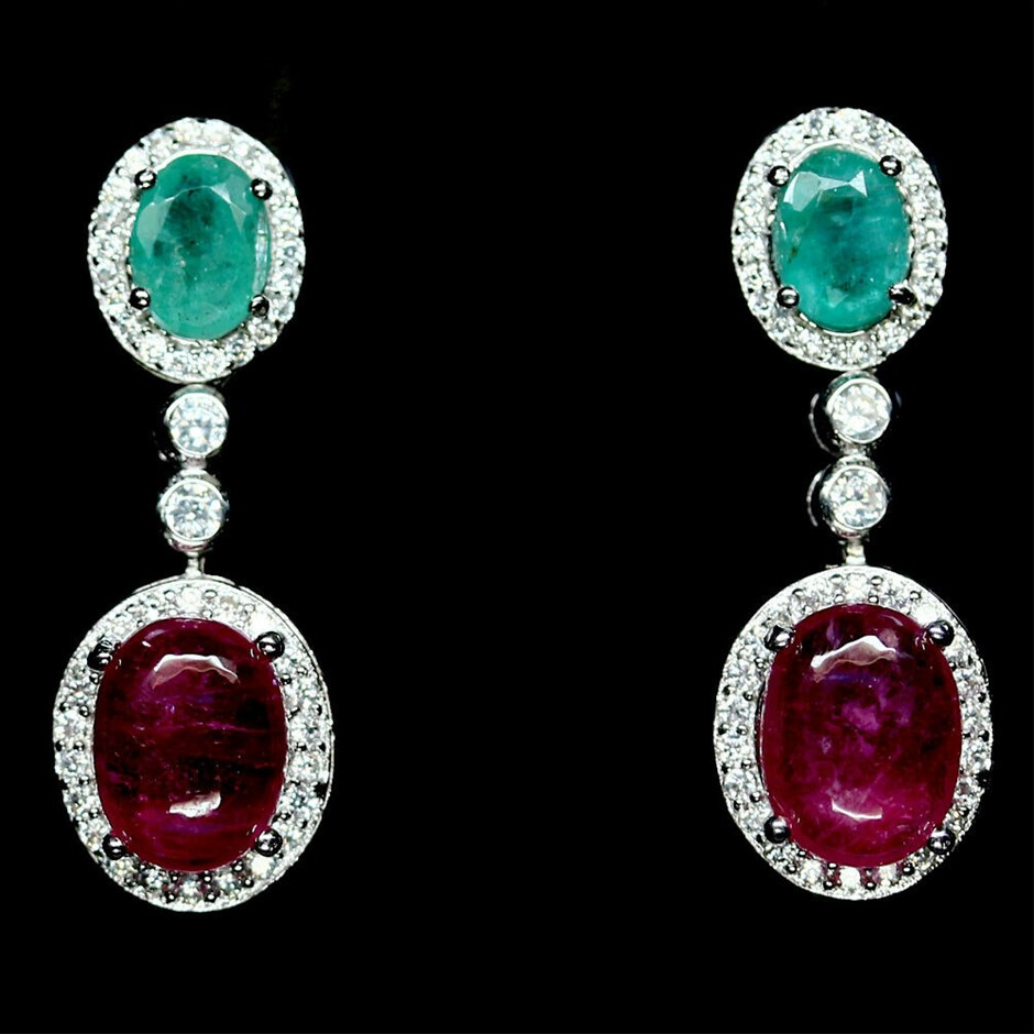 Gorgeous Genuine Ruby & Emerald Drop Earrings