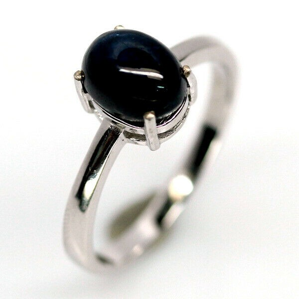 Striking Genuine 6 Ray Star Midnight Blue sapphire Solitaire Ring.