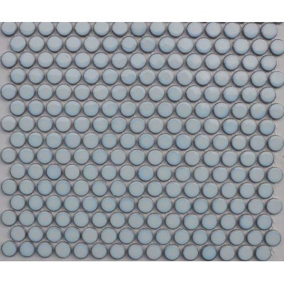 Penny Round Gloss Pale Blue 19mm x 5.5mm Mosaic Tiles, 9 Boxes, 16.65m²