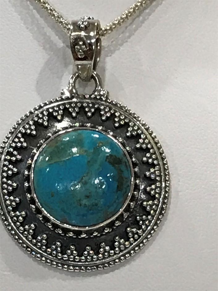 Vintage Style Genuine Blue Mojave Turquoise Pendant