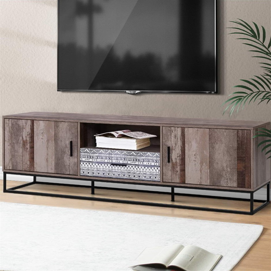 Artiss TV Cabinet Entertainment Unit Stand Storage Wooden Rustic 180cm
