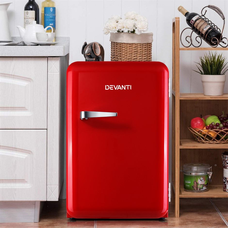 Devanti Retro Bar Fridge 70L Built-in Lamp Beverage Cooler Refrigerators