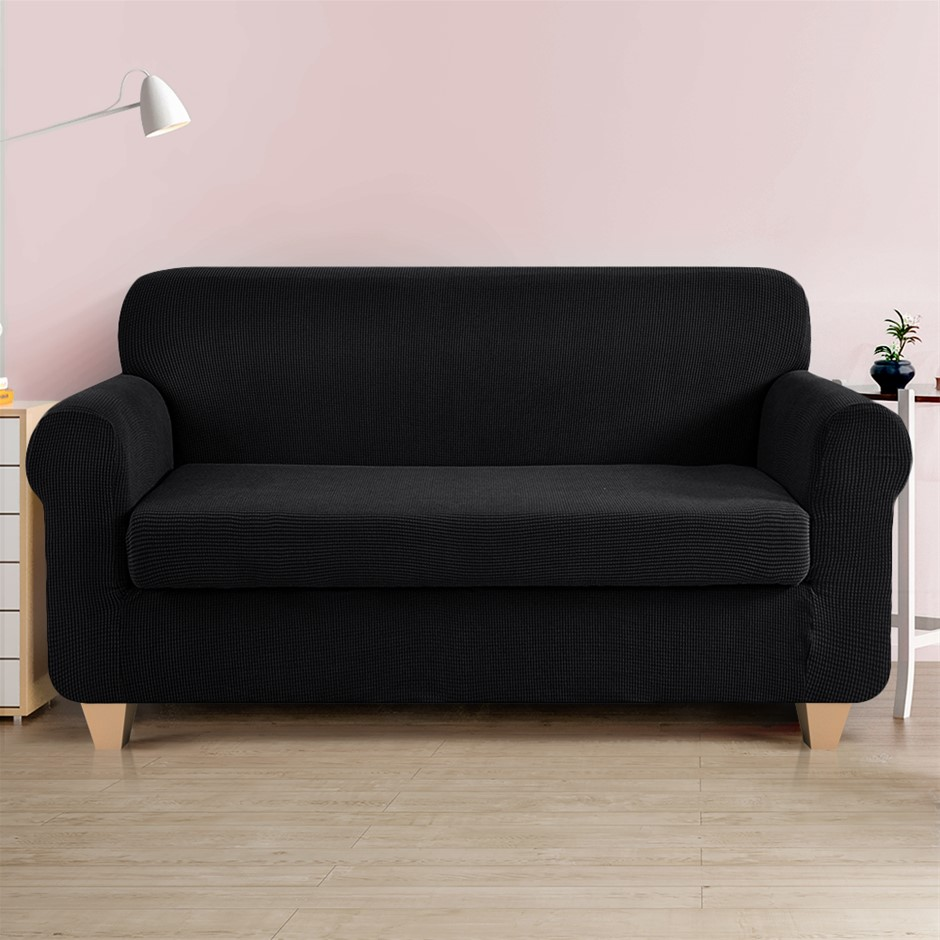 Artiss 2-piece Sofa Cover Elastic Stretch Protector 3 Seater Black