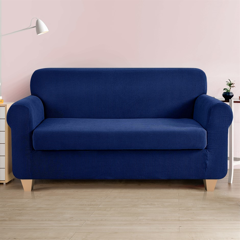 Artiss 2-piece Sofa Cover Elastic Stretch Protector 3 Seater Navy