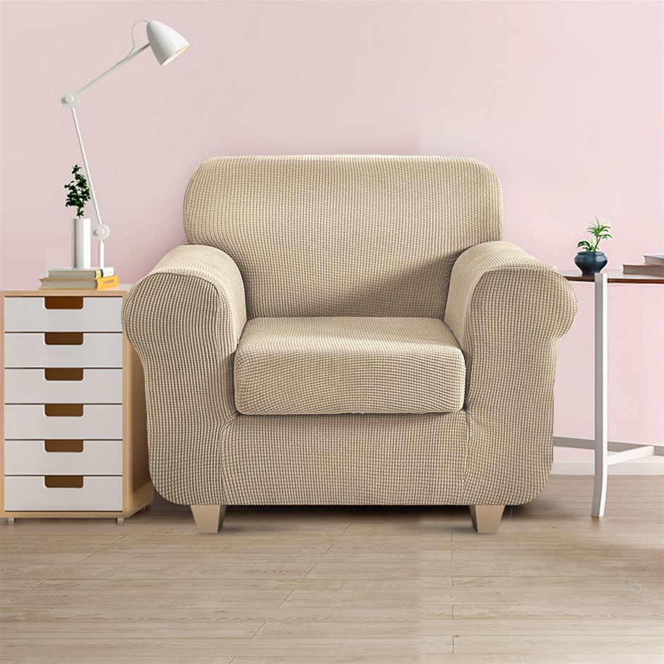 Artiss 2-piece Sofa Cover Elastic Stretch Protector 1 Seater Sand