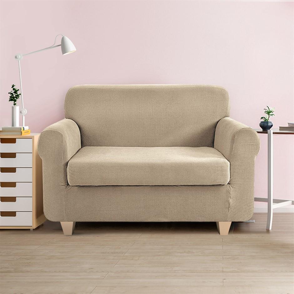 Artiss 2-piece Sofa Cover Elastic Stretch Protector 2 Seater Sand
