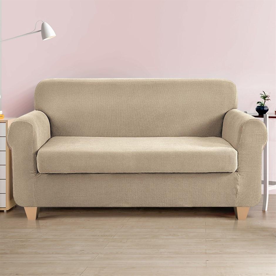 Artiss 2-piece Sofa Cover Elastic Stretch Protector 3 Seater Sand