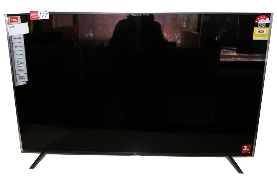 TCL 55ins Television c/w Power Cord, Stand & Feet, Model # 55C2US. Not in o