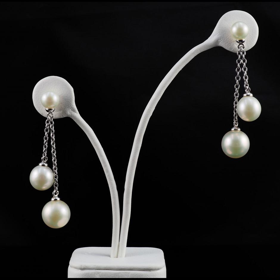 Freshwater pearl set sterling silver earrings