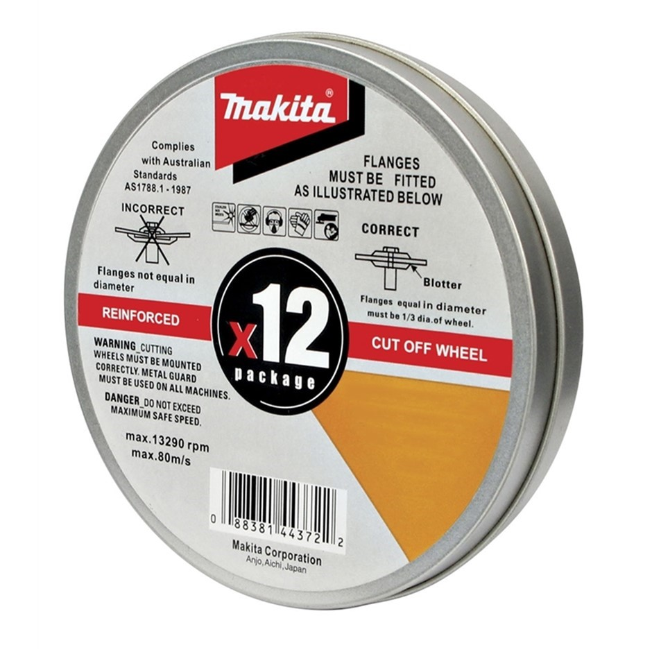 12 x MAKITA Cutting Discs, 100 x 1 x 16mm in Storage Tin. Buyers Note - Dis