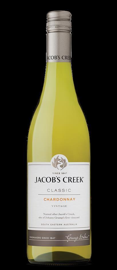 Jacob's Creek `Classic` Chardonnay 2019 (12 x 750mL), SE AUS.