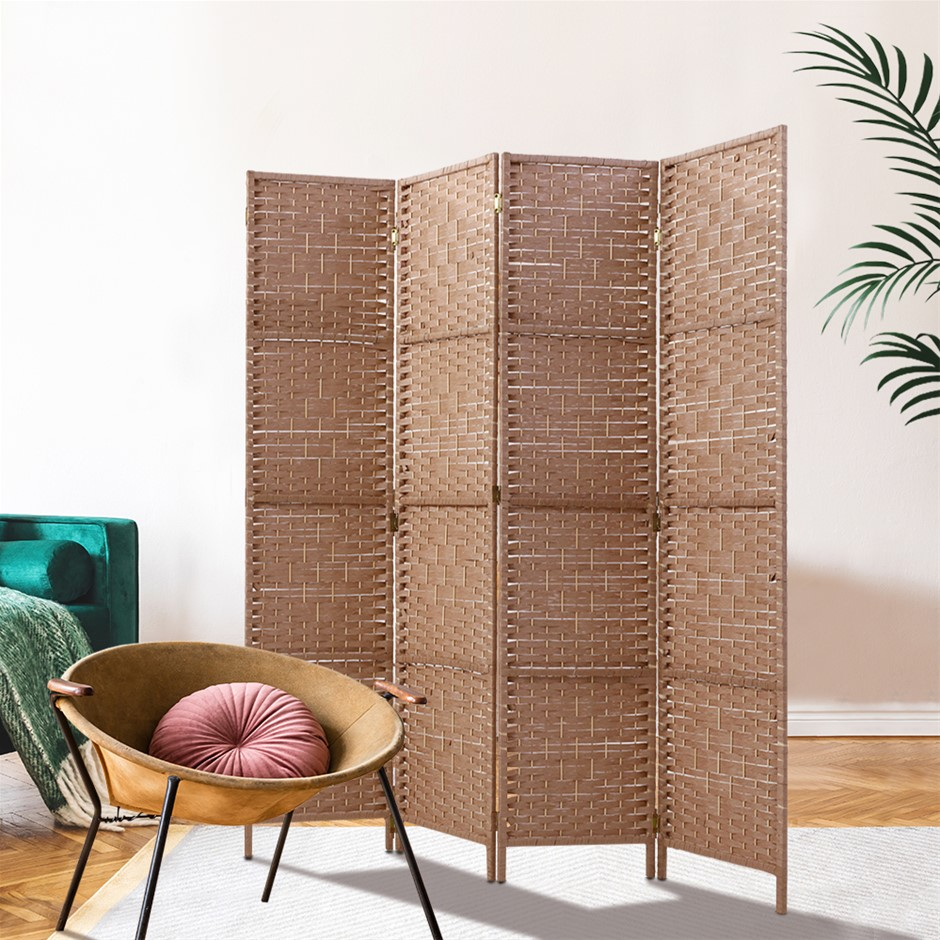 Artiss 4 Panel Room Divider Screen Rattan Timber Foldable Hand Woven