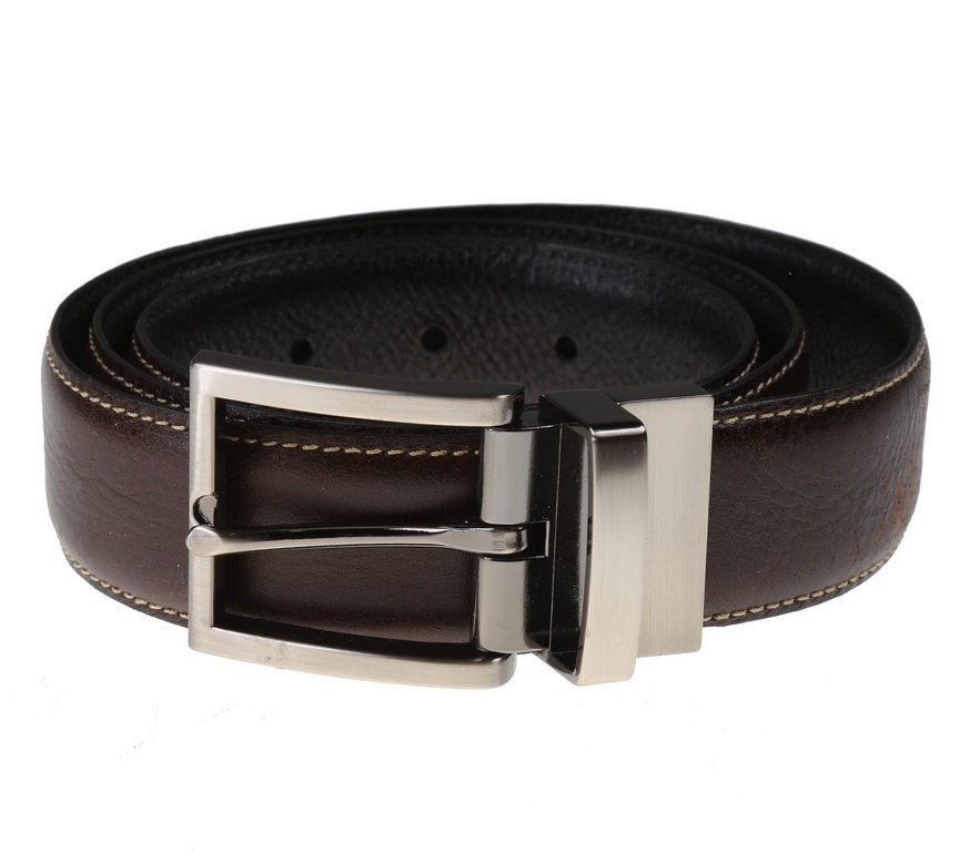 SIGNATURE Men`s Italian Leather Reversible Belt, Size 38, Black/Brown. Buye