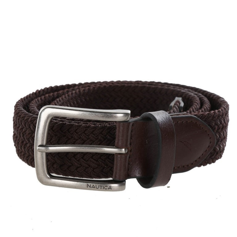 NAUTICA Men`s Handcrafted Woven Stretch Belt, Size 36- 38, Brown, Elastic R