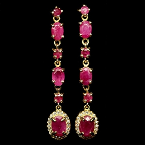 Devine Yellow Gold Pink Red Ruby Dangle