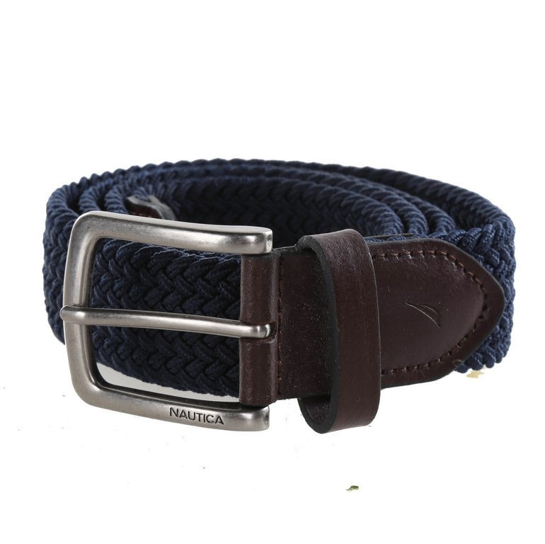 NAUTICA Men`s Handcrafted Woven Stretch Belt, Size 40- 42, Navy, Elastic Ru