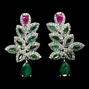 Genuine Ruby & Emerald Drop Earrings