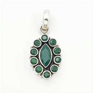 Sterling Silver & Green Gemstone Pendant