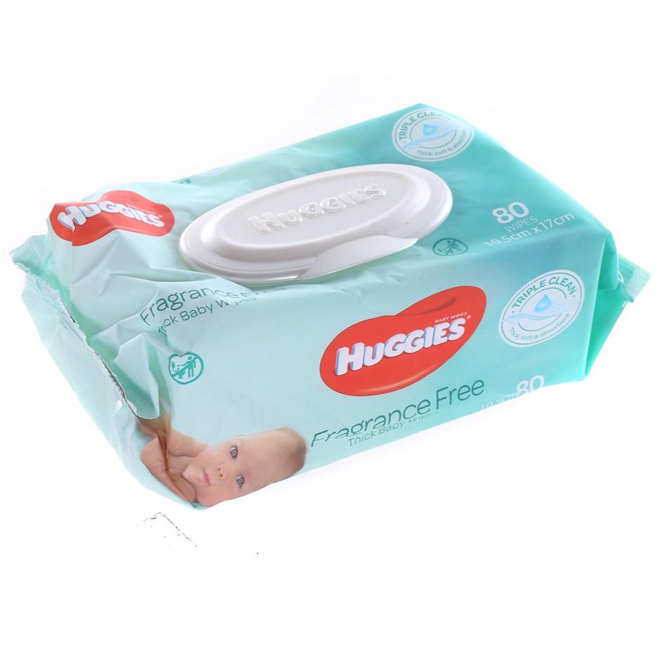 6pks x HUGGIES Triple Clean Fragrance Free Baby Wipes, 80 Wipes N.B. Not in